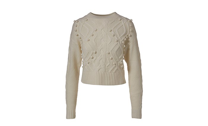 Holt Renfrew image of AMUR. Sustainably-made Brie cable knit wool sweater. $548. SHOP AMUR