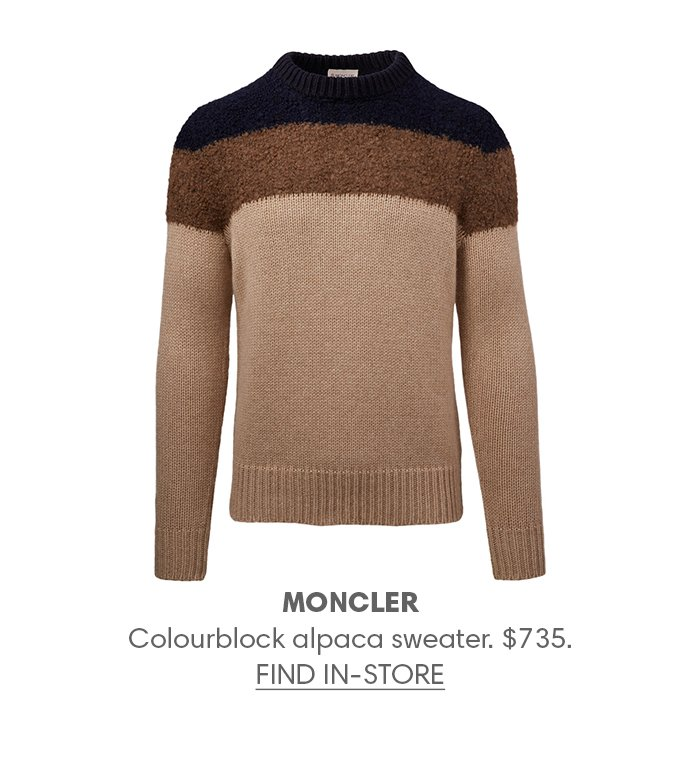 Holt Renfrew image of MONCLER Colourblock alpaca sweater. $735. FIND IN-STORE