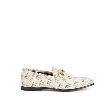 Holt Renfrew image of GUCCI Brixton leather loafers in Gucci Stamp print. $1170. SHOP NOW