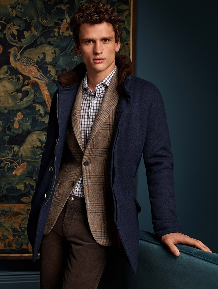 Holt Renfrew Image Of Isaia Parka with rabbit fur collar. $4470. Wool blazer in brown overcheck. $3630. Cotton sport shirt. $465. Corduroy pant in brown. $485.