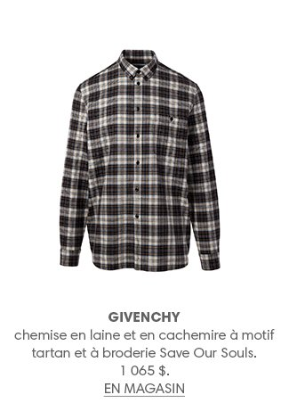 GIVENCHY chemise en laine et en cachemire à motif tartan et à broderie Save Our Souls. 1 065 $. EN MAGASIN