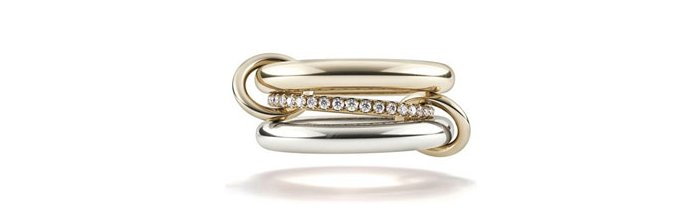 Holt Renfrew Image of SPINELLI KILCOLLIN  Libra 18K Yellow Gold And Sterling Silver Stacked Ring With Diamonds. $5040.