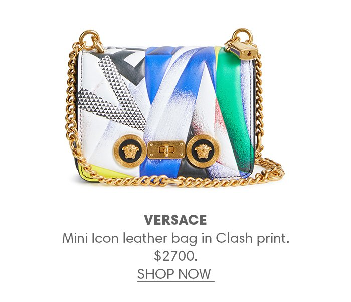 Holt Renfrew image of VERSACE Mini Icon leather bag in Clash print. $2700. FIND IN-STORE