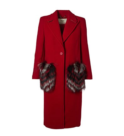 Holt Renfrew image of FENDI Long wool coat with fox fur pockets. $7700. FIND IN-STORE