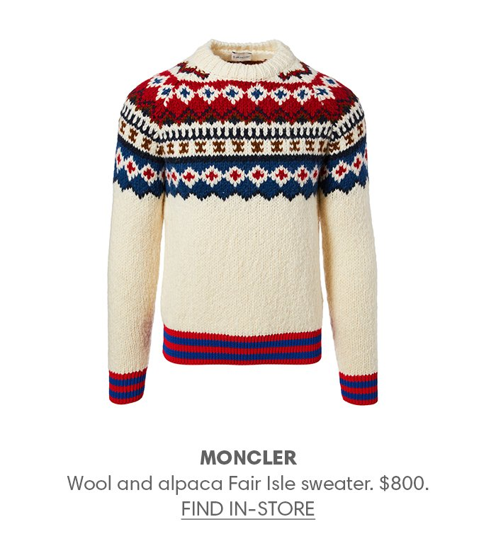 Holt Renfrew image of MONCLER Wool and alpaca Fair Isle sweater. $800. FIND IN-STORE
