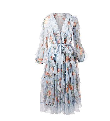 Holt Renfrew image of ZIMMERMANN Bowie Silk Waterfall Dress In Floral Print. $1550. FIND IN-STORE