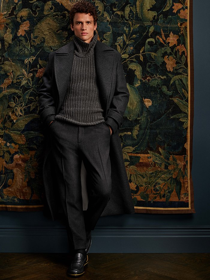 Holt Renfrew Image Of Boss Speedfire double-breasted relaxed fit coat. $1695. Logent1 structured turtleneck. $898. Fox2 relaxed fit cropped trouser. $450. All in grey wool.
