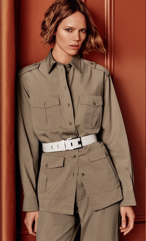 Holt Renfrew image of LORO PIANA Brenda shirt. $2130. Davin pant. $1110. Both in golden desert cotton and silk. FIND YOUR STORE