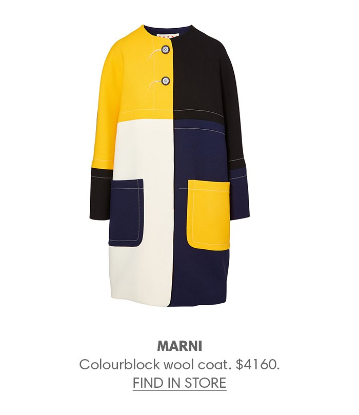 Holt Renfrew image of MARNI Colourblock wool coat. $4160. FIND IN-STORE