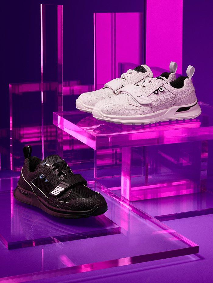 Holt Renfrew Image of PRADA WRK sneaker in nero or bianco. $965 each.