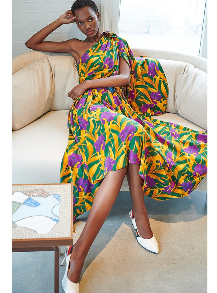 Holt Renfrew image of GUCCI Silk Dress With Flowers. $8500. LEARN MORE Sylvie Leather Slingback Pumps. $800. SHOP NOW