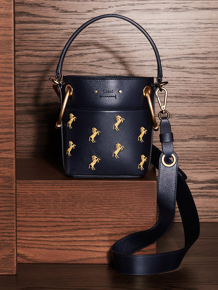 Holt Renfrew Image of CHLOÉ leather Roy small bucket bag with embroidered horses in full blue. $2175.