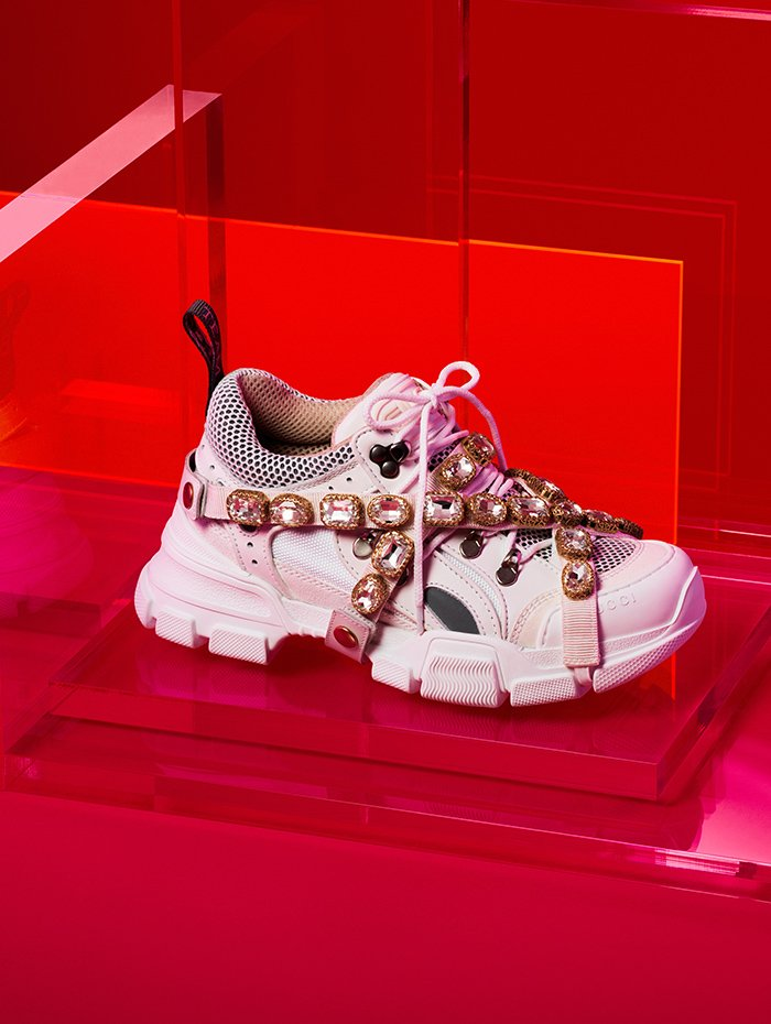 Holt Renfrew image of Gucci Leather and suede Flashtrek sneaker with mesh, stones, and Gucci Sega® embellishments. $1890.