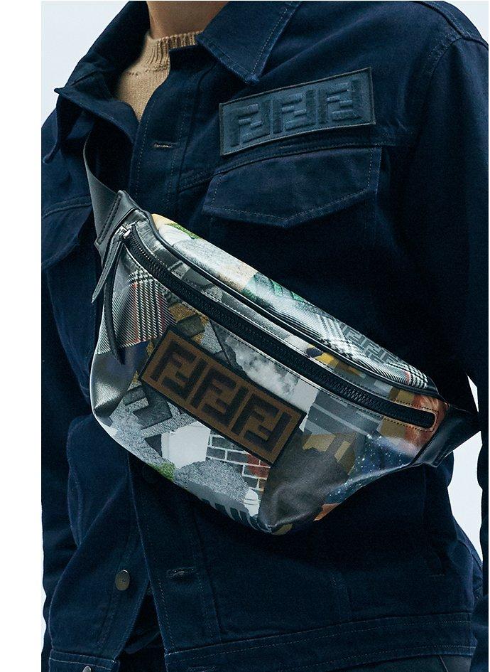 Holt Renfrew image d'un FENDI veste en coton bleu. 1 950 $. Pull en tricot chameau. 1 390 $. Sac banane multicolore. 1 290 $. VALENTINO pantalon coupe étroite en laine. 3 320 $.