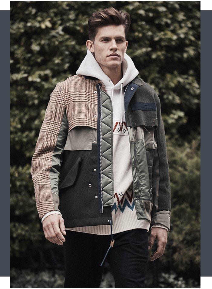 Holt Renfrew image of SACAI Mixed Media Field Jacket. $2145. FIND IN-STORE Nordic Hoodie. $820. Melton Wool Sweatpants. $740.