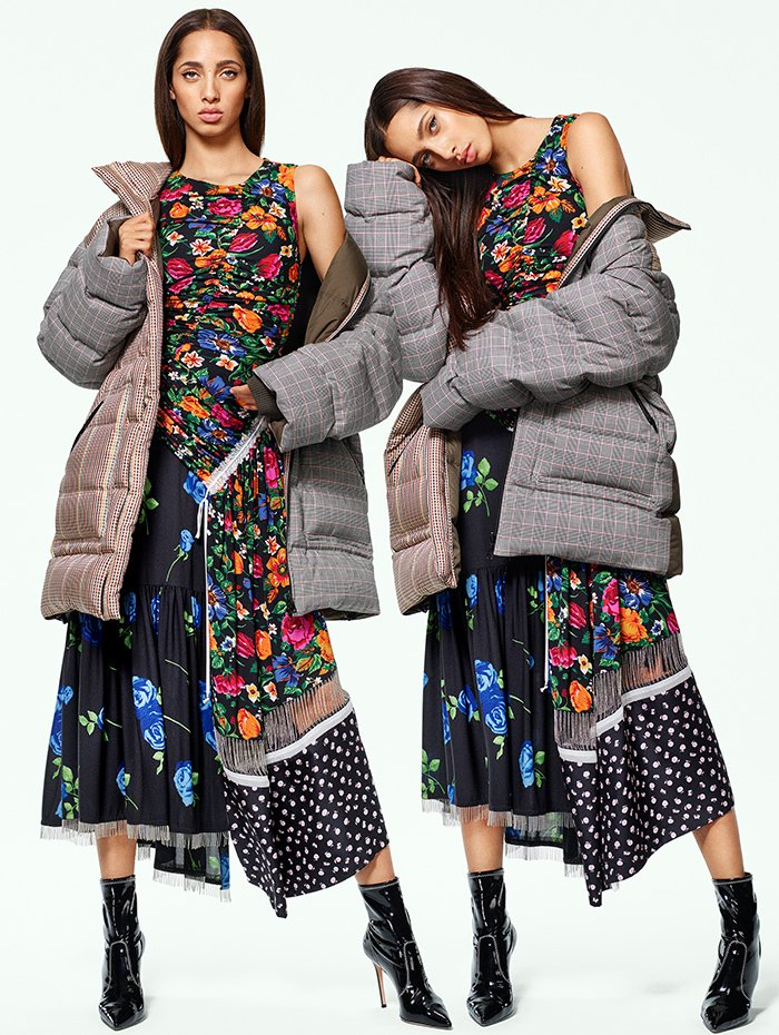 Holt Renfrew image of 3.1 PHILLIP LIM reversible puffer coat in black and white check. $1715. Patchwork dress in orange and blue floral print. $1320.