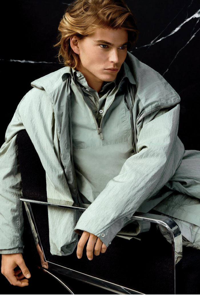 Holt Renfrew Image of JIL SANDER Three zipper bomber. $3440. Quarter-zip overshirt. $990. Quilted shirt. $1440. Quilted short. $990. All in pastel green cotton. FIND YOUR STORE.