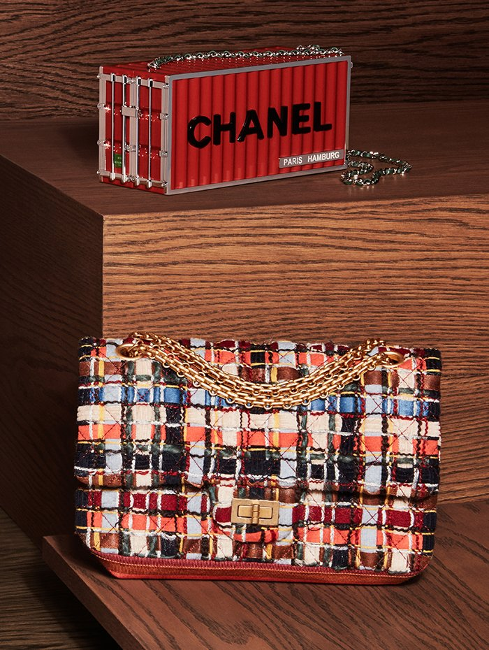 Holt Renfrew Image of CHANEL resin, metal, and leather minaudière. Tweed flapbag in blue, orange, navy, and beige. Prices available upon request.
