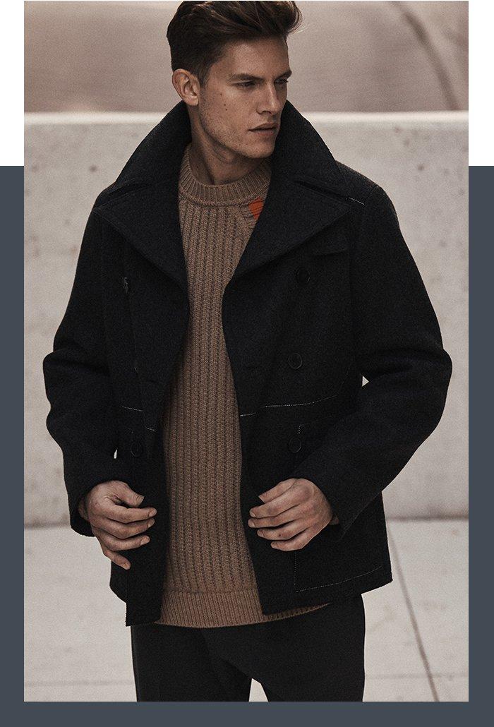 Holt Renfrew image of JIL SANDER Wool Double-Breasted Field Jacket. $3190. Wool Sweater With Stripe Detail. $1600. Wool Pant. $760.