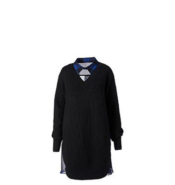 Holt Renfrew image of SACAI Wool Sweater Dress With Check Back. $1070.