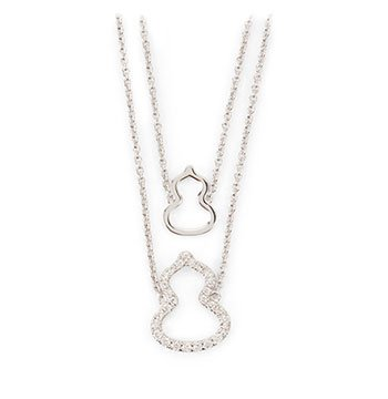 Holt Renfrew image of QEELIN Petite Wulu White 18K Gold Necklace With Diamonds. $1800.