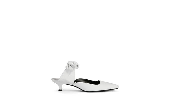 Holt Renfrew image of THE ROW Coco Leather Kitten Heel Mules. $1000. SHOP NOW