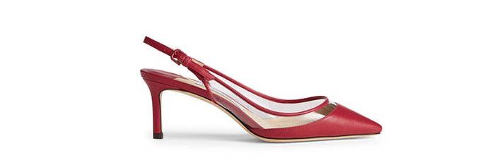 Holt Renfrew Image of Holts Exclusive JIMMY CHOO Erin 60 Leather And PVC Slingback Pumps. $875.