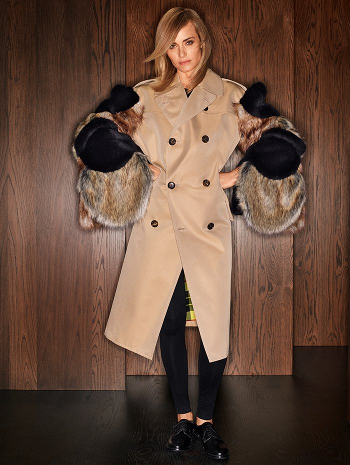 Holt Renfrew Image of JUNYA WATANABE COMME DES GARÇONS Double-breasted trench with faux fur in beige and multi. $3675.