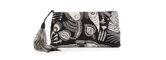 Holt Renfrew image of DRIES VAN NOTEN Embroidered Clutch Bag With Tassel. $1490.
