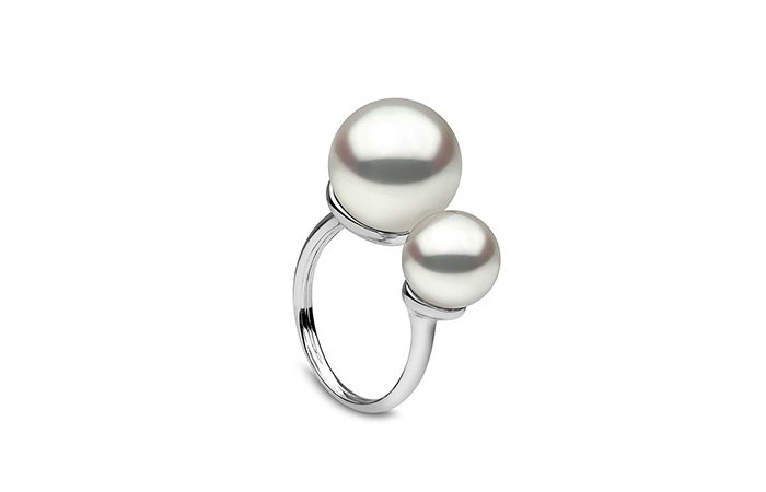 Holt Renfrew image of YOKO LONDON. 18K White Gold Double Pearl Ring. $3565.