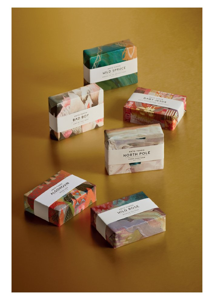 Holt Renfrew image of ANTO YUKON. Bar soap crafted in the Yukon from 100% natural ingredients. Available in 9 scents. $10 each. SHOP ANTO YUKON