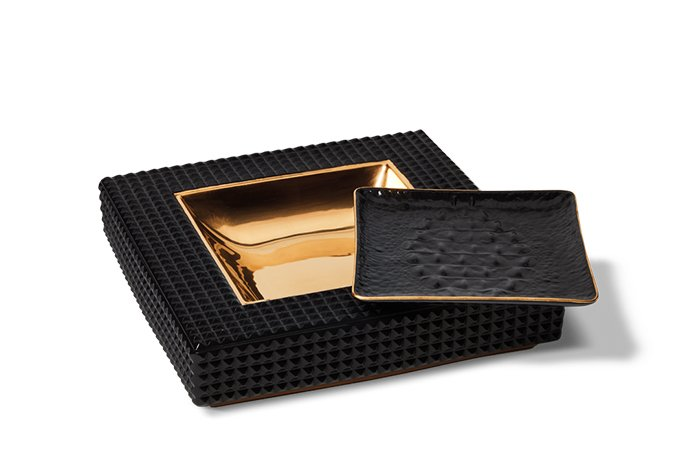 Holt Renfrew image de L'OBJET Vide Poche ashtray. $395. Crocodile square tray. $140.