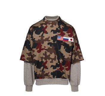 Holt Renfrew image of GOSHA RUBCHINSKIY Layered Sweatshirt In Camo Print. $235. FIND IN-STORE