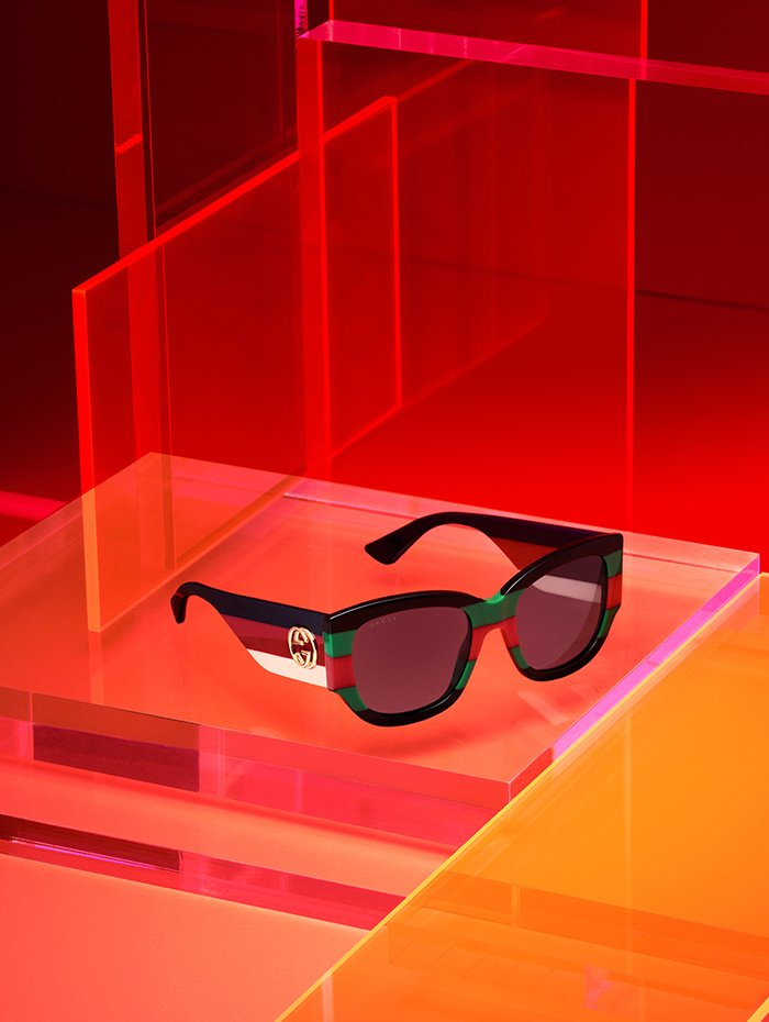 Holt Renfrew image of Gucci Oversized sunglasses with Web tones on front and Sylvie tones on temples. $525.