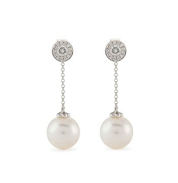 Holt Renfrew image of YOKO LONDON 18K White Gold Disc Drop Earrings With Pearls And Diamonds. $2375.
