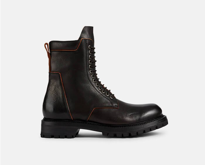 Holt Renfrew image of RICK OWENS. Leather Army Boots. SHOP NOW