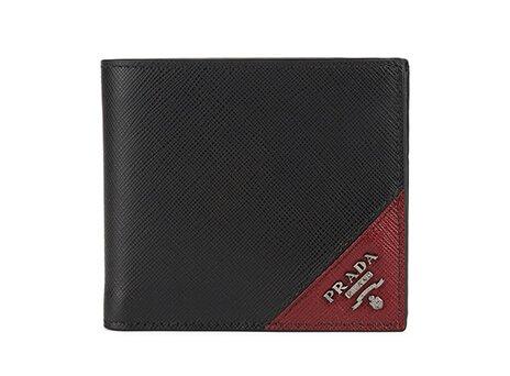 Holt Renfrew image of PRADA Saffiano Leather Contrast Logo Wallet. $570. SHOP NOW