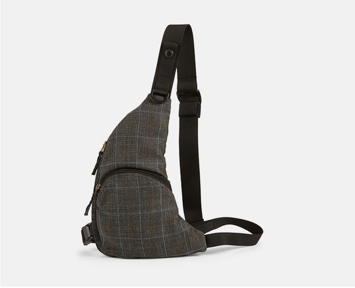 Holt Renfrew image of JUNYA WATANABE. Harness Crossbody Bag In Plaid. SHOP NOW