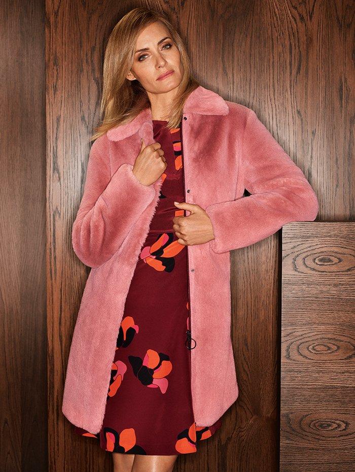 Holt Renfrew Image of AKRIS PUNTO Faux fur coat in blush rose. $1935. Silk long sleeve dress in burgundy Anemone print. $1810.