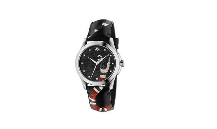 Holt Renfrew image of GUCCI G-Timeless Le Marché Des Merveilles Steel Leather Strap Watch. $1055. SHOP NOW