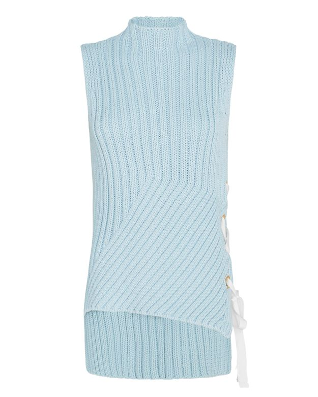 Grommet Lace-Up Side Sleeveless Sweater