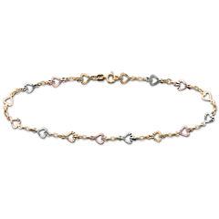 10K Gold Tri-Color Heart Ankle Bracelet