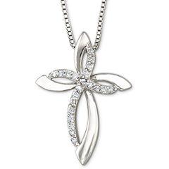 1/10 CT. T.W. Diamond Sterling Silver Cross Pendant Necklace