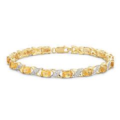 Genuine Citrine & Diamond Accent Bracelet