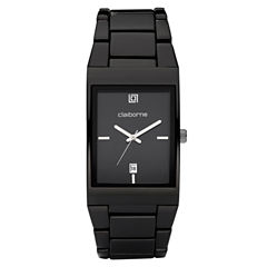 Claiborne Mens Black Ionic Plating Watch