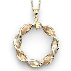 10K Gold Tri-Color Pendant Necklace