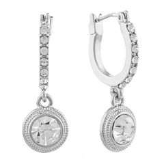 Monet® Crystal and Silver-Tone Drop Off Hoop Earrings