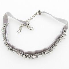 Vieste Rosa Womens White Brass Choker Necklace