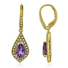 Genuine Amethyst & Lab-Created White Sapphire 14K Gold Over Silver Drop Earrings