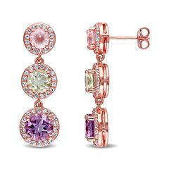Genuine Rose de France Amethyst, Green and Pink Quartz Earrings
